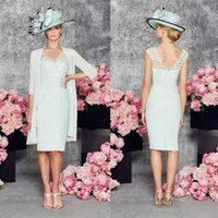 Wholesale Sheath V Neck Formal Dress - 2016 Graceful Mint Mother of the Bride Dresses Ronald Joyce V-Neck Sleeveless Backless Formal Gowns Knee Length Mother's Dresses With Jacket
