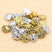 Wholesale Tibetan Beads For Jewelry Making - 50pcs lot Charms for Jewelry DIY Making Antique Sliver Plated Gold Plated Tibetan Leone Lion Head Beads Spacer Bead