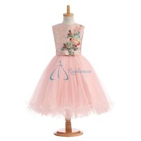Wholesale Bow Dress For Kids - 2017 Real Photo Flower Girls For Wedding Dresses Jewel Zipper Bow Flower Applique Ruffle Medium Ankle-Length Sleeveless Communion For Kids