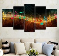 Wholesale Music Paintings Canvas - Unframed Painting on Canvas Abstract Music Notation Pictures Home Decor 5 Panel Wall Art Paintings Unframed Wholesale