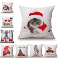 Wholesale Dog Reindeer - Christmas Pillows Case Xmas Pillow Cover Reindeer Elk Throw Cushion Cover Tree Sofa Nap Cushion Covers Santa Claus cat dog Home Decor 45*45
