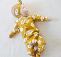Wholesale girls clothes size 12 months - 2017 Baby Jumpsuits Boys Girls Toddler Romper Clouds Smile Infant Rompers Clothing ins Cotton Onesies Boutique Clothes With Headbands