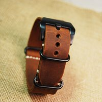 Wholesale Nato Leather Strap - Wholesale-New replacement for Garmin Fenix 3 Watch Band Strap crazy horse leather nato