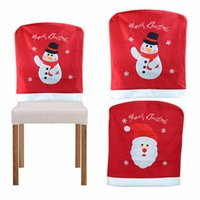Wholesale Flocked Material - 2Pcs  Lot Lovely 3D Santa Claus &Snowman Christmas Chair Cover Flock Material New Year Ornament Christmas Ornaments Supplies