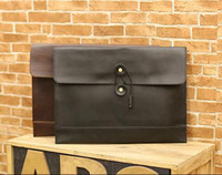 Wholesale file zipper - factory sales brand of Korean fashion men leather bag hand bag trend envelope bag retro casual mens business casual file briefcase