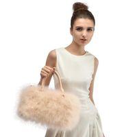 Wholesale Mix Color Handbag Shoulder Bag - 4Pcs Mix Lot Pure color New Style Real Ostrich Fur Straw Bag Fashion Lady Handbags Single Shoulder Bag