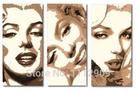 Wholesale art panels for sale for sale - Abstract Oil painting on Canvas Monroe Pop art paintings for sale Abstract Modern big wall art three panels