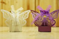 Wholesale Cheap Candy Holders - Cheap Butterfly Hollow Baby Shower Wedding Favors Boxes Gifts Candy Boxes Favor Holders Laser Cut Wedding Party Supplies Chocolate Boxes