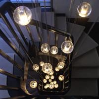 Wholesale Led Pendant Sphere Lights - Modern Magic Buble Glass Sphere Ball Pendant Light Living Room Stair Lighting Ceiling Lamps G4 LED Bulb fixture lamp