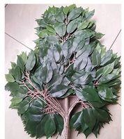 seide kamelie blau großhandel-Kunststoff Pflanze Grün Künstliche Banyan Blätter Ficus Zweige Gras Dekoration Lila zweig (12 stücke)