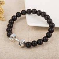Wholesale Good Quality Silver Bead Wholesalers - Good Quality Stainless Alloy Charm Bangles Black Stone Polished Beads Bracelet Dumbbell Pattern Sports Style Wristbands
