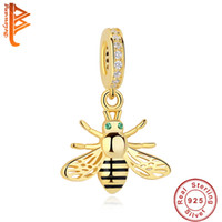 Wholesale 14k Gold Charm Bracelets - BELAWANG New 14k Gold 925 Sterling Silver Honeybee Charms fit Pandora Charm Bracelet&Bangle DIY Making Jewelry Accessories Free Shipping