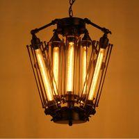 Wholesale industrial pendant lighting online - New American Retro Pendant Lights Industrial lamp Loft Vintage Restaurant Bar Alcatraz Island Edison Lampe Hanging lighting