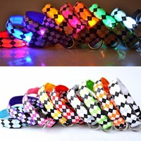 Wholesale glow dark animals online - Lattice Pattern Pet Leashes Adjustable Polyester Fiber Puppy Necklet LED Light Up Dog Collars Glowing In The Dark gr B