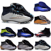 Wholesale Cheap Black Football Cleats - newairl boys soccer shoes cheap original soccer cleats for kids youth cr7 soccer shoes indoor men women Superfly FG Football Boots High Top