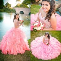 Wholesale junior pageant prom dresses online - 2017 New Pink Blue Organza Ball Gown Quinceanera Dresses Sweetheart Beaded Sequins Tier Ruffles Long Junior Sweet Prom Party Pageant Gown
