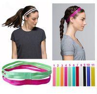 Wholesale Silicone Hair Scrunchies - 2017 Yoga Headbands Double Elastic Headband Soft tball Anti-slip Silicone Rubber Hair Bands Bandage On Head For Hair Scrunchy