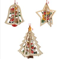 Wholesale Tree Bell Ornaments - Christmas Wooden Hanging Pendants Star Bell Christmas Tree Shaped 3D Cartoon Home Party Decor 3 Styles OOA3286