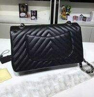 Wholesale grey chevron bag - top quality v quilted chevron caviar double flap shoulder 25.5cm fashion caviar classic flap bag 2016 new women flap shoulder bag 5 colors