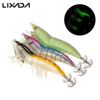 Wholesale shrimp bait - 3Pcs Noctilucent Fishing Shrimp Lure Prawn Squid Bait Hard Artificial Fishing Set With Squid Jigs Hook Lead Weighted Cm G