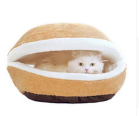 Pet Dog Cat Bed Cats House Kennel Bed Mat Shell-shaped Burger Bun Sleeping Bag Съемный моющийся ветрозащитный питомник