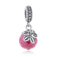 Wholesale Clear Faceted Charms - Morning Butterfly Faceted Silver Dangle Charms with Pink & Clear Cubic Zirconia for Pandora Style Beaded Charm Bracelets S297