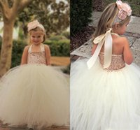 Wholesale Cute Little Girl Rose - Cute Ivory Flower Girl Dresses 2016 Bling Rose Gold Sequin Halter Tutu Floor Length Ball Gown Cheap Custom Made Little Girls Pageant Dresses