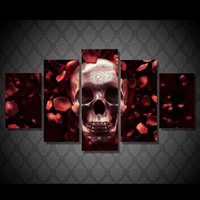 Wholesale 5 Piece HD Printed roses skull full res Painting Canvas Print room decor print poster picture canvas hand painted canvas oil paintings