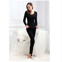 Wholesale Wholesale Womens Thermals - Wholesale-Womens Soft Modal Thermal Underwear Top Bottom Microfiber Fleece Lined Long John Set