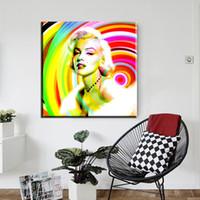 imagens de marilyn wall venda por atacado-ZZ1886 moderna pintura a óleo da lona famosa estrela pop art pintura retratos da parede para sala de estar Marilyn Monroe pinturas de arte de lona