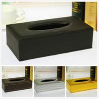 Wholesale Golden Napkins - Wholesale- Long Blcak Brown Silver Golden PU Leather Office Room Hotel Car Tissue Box Paper Napkin Cover Holder Decor 24*12*6.5CM