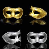 Wholesale Christmas Festive Masks - 2016 Venetian Masks Masquerade Ball Mask held Carnival Masque Festive & Party Supplies Handmade Half-face 8 Colors Plastic Masks on Sticks