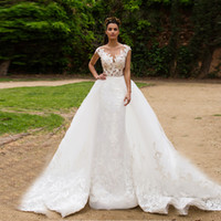 Wholesale Pure White Crystal Wedding Dresses - Cap Sleeves Sheer Hand Made Lace Applique Top Pure White Mermaid Wedding Dress with Removable Long Skirt Illusion Bridal Dress