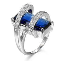 ingrosso anello topazio rosa-Anelli da donna unici da uomo Tre colori Argento sterling 925 London Blue Topaz Pink Topaz Morganite Gemstone Wedding Rings