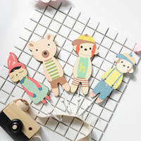 Wholesale Peg Holder - INS wooden hook Cute Peg cloth hook NEW Children shop decoration rabbit monky cartoon holder scene layout tool props storage ornament GG01