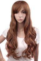 Wholesale Light Brown Long Wig Cosplay - Long loose Wave Light dark Brown Black 75cm Women wigs Cosplay Lady's Heat Resistant Synthetic Full Hair