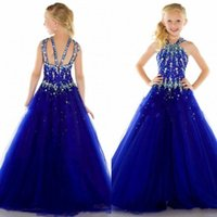 Wholesale Special Occasion Dresses Teens - beaded halter little girls pageant dresses for teens rhinestone zipper back special occasion dress a line floor length party gowns