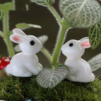 Wholesale Tuzki Rabbit - Mini Cute Resin Bunny Small White Rabbit Tuzki Easter Bunny Bonsai Handicraft Decor Aaccessories Micro Landscape Ornaments DIY Fairy Garden