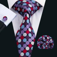 Wholesale Ties Necktie Colorful Neck Tie - Fashion Men Ties Classic Silk Tie Sets Colorful Mens Neckties Tie Hankerchief Cufflinks Jacquard Woven Meeting Business Wedding Party N-1567