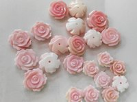 Wholesale Shell Pearl Loose - half drille---high quality Genuine Pink Queen Conch Shell ,Pearl Shell Rose flower fluorial Hand Carved loose beads 12 15mm 20pcs