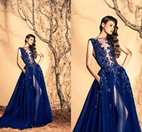 Wholesale Real Picture Zuhair Murad - 2017 Zuhair Murad Navy Sheer Crew Neck Sleeveless Evening Dresses Beaded Custom Made Tulle High Split Long Prom Gowns with Pockets BO9745
