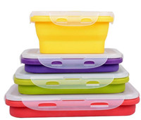 Wholesale Microwave Bowls - Collapsible Portable Lunch Box Bowl Bento Boxes Folding Food Storage portable microwave applicable kitchen container lunchbox KKA3328