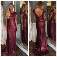 Wholesale Burgundy Cap Sleeve - 2016 Bling Sequin Mermaid Evening Dress Short Sleeves Burgundy Sexy Backless With Cap Sleeve Plus Size Cheap Bridesmaid Dress Prom Gown