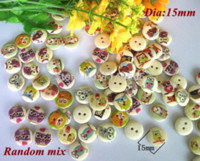 Wholesale Artesanato Scrapbooking - 200pcs lot 15mm new Natural Wooden buttons sewing accessories artesanato botoes Buttons For craft Scrapbooking M65026