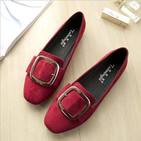Woman Shoes Flock Flat Loafers Metal Buckle Slip on Sandals Vintage Square Toe Slides Shallow Ladies Shoes Preto Cinzento Vermelho
