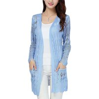 Wholesale Korean Orange Sweater - Wholesale- Spring Summer New Long Sweater Women Korean Hollow Pocket Loose Coat Thin long-sleeved Jacket Knit Cardigan Vestidos LXJ040