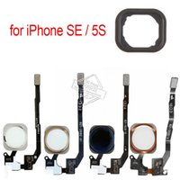 Wholesale iphone 5s cable oem - Original OEM Home Button with Flex Cable for iPhone SE   5S Return Main Home Key Touch ID Sensor Assembly with Adhesive Stickers