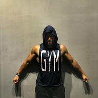 Wholesale Wholesale Men Clothes Free Shipping - Fitness Men Bodybuilding Sleeveless Muscle Hoodies Workout Clothes Casual Cotton Tops Hooded Sweater High quality fashion Free shipping