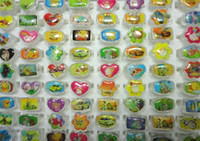 Wholesale Plastic Plates For Weddings Wholesale - Wholesale Bulk Lots Lovely Animation Cartoon Children Acrylic Lucite Resin Rings For Boys Girls Jewelry Free Shipping LR525