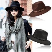 Wholesale Womens Wide Brim Fedora Hat - Fashion Vintage Hats Womens Mens Trilby Derby Caps Jazz Hats Fedoras Style Top Hats Blower Brand Style Popular Formal Fashion Cap SV009808
